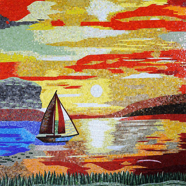 Fashionable Mosaic Custom Sunrise Wall Mural For decoration High quality mosaic mural