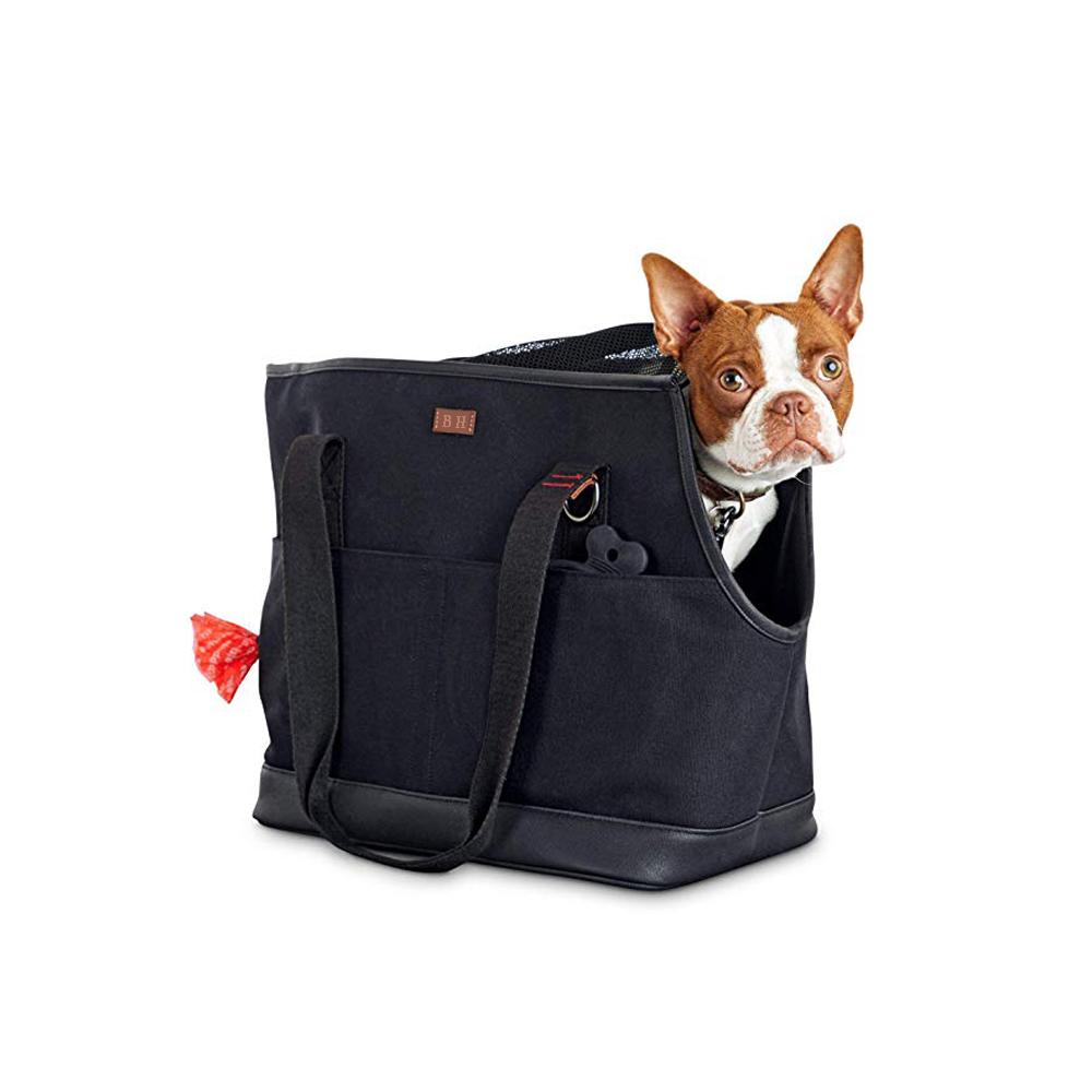 Taşınabilir seyahat evcil hayvan taşıyıcı tuval rahat yumuşak taraflı Tote taşıyıcı çanta Pet