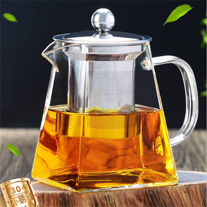 AIHPO12 Antique Custom Square Pyrex Fire Heat Resistant Handblown 1L Glass Tea Set Teapot with Stainless Steel Infuser Strainer