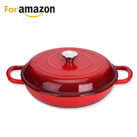 Amazon solution cast iron enamel casserole cookware soup and stock shallow seafood cooking pot for Amazon