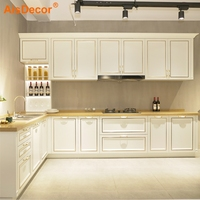 China Factory Direct Luxury American Style White Solid Wood Kitchen Cabinet
