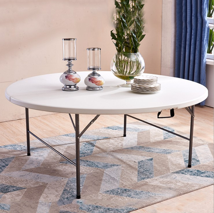 Folding Plastic top metal base big round outdoor table