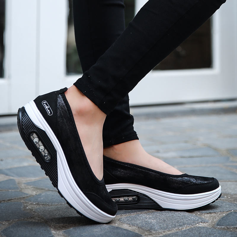 Autumn Air Cushion Thick Bottom Shallow Mouth Rocking PU Casual Sneakers Height Increase Women Swing Wedges Platform Shoes