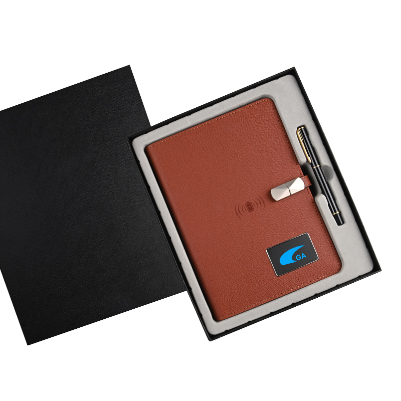 WEIYI Wholesale A5 Wireless Charging Diary With 16Gb Usb Flash Drive Leather Powerbank Notebook