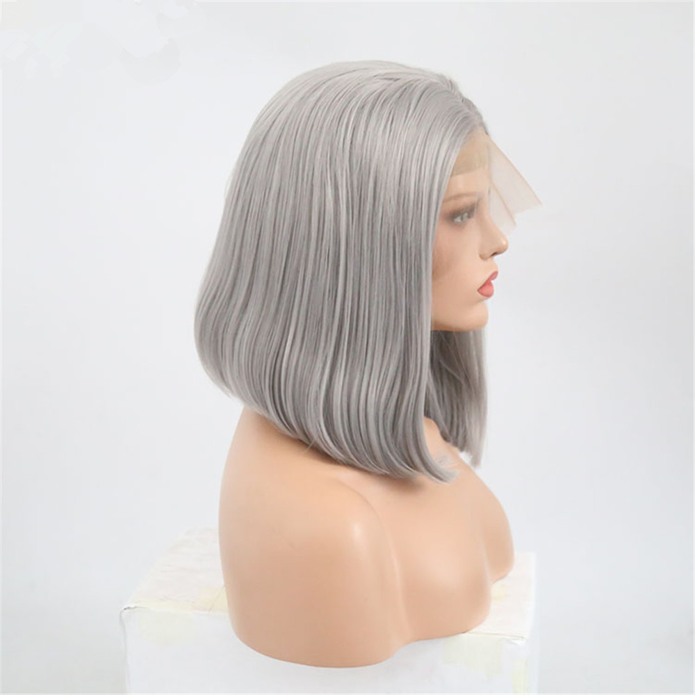 JcXBL Short Bob 13*6 Lace Front Wig Gray/Grey Silky Straight 100% Human Hair Wigs for Black Women with baby hair adjustable band