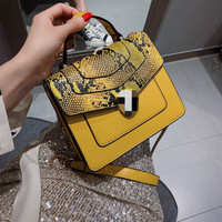 Retro Colour small Square bag 2019 Spring New European and American Fashion bag female handbag with Snake pattern