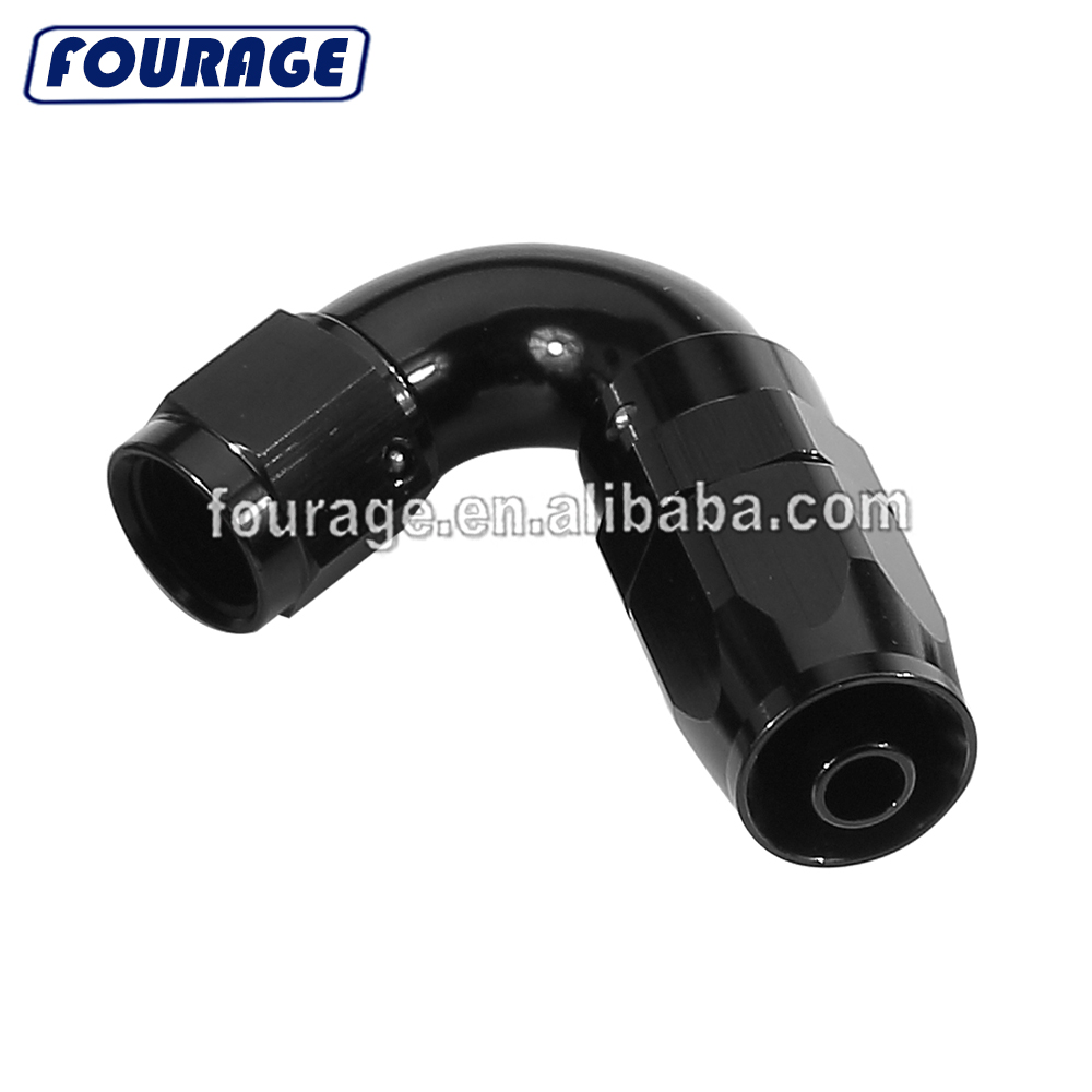 Black AN8-8 90 Degree Bend Forged Braided Hose Fitting Oil Fuel Water