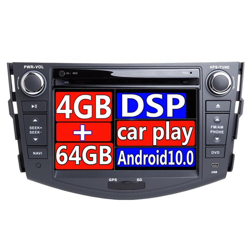 2 din Android 10.0 Car radio DVD Player Para Toyota Rav RAV4 4 2007 2008 2009 2010 2011 2012 GPS unidade de cabeça estéreo de navegação Wi-fi