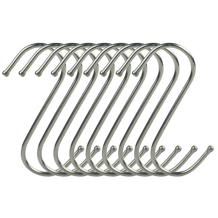 Fabrika kaynağı bükülmüş s kanca paslanmaz çelik asılı S şekilli askılı kancalar toplu mutfak için