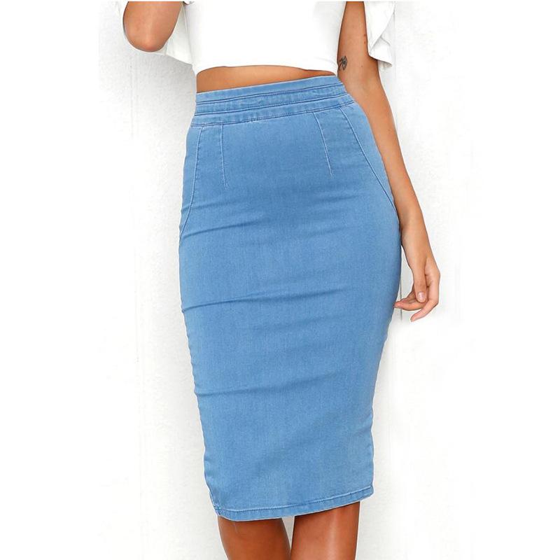 ホットスタイルの女性ロングジーンズスカートバックスリットバットラップ鉛筆デニムスカート