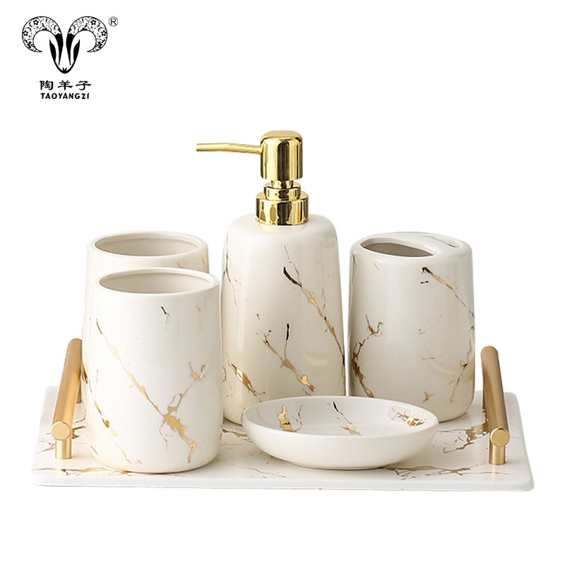 En gros Home Basics De Luxe 5 pièces En Céramique Marbre Design Salle De Bain Accessoire Ensemble