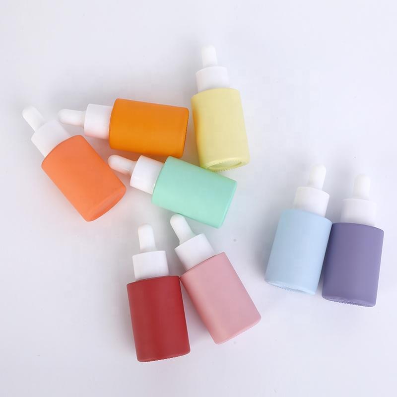 In stock wholesale custom logo pastel color pink blue purple skin care serum bottle 30ml glass dropper bottle