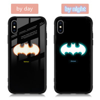 Fashion luminous tempered glass night light phone case for iphone X Wholesale accessories creative back cover for iphoone 678