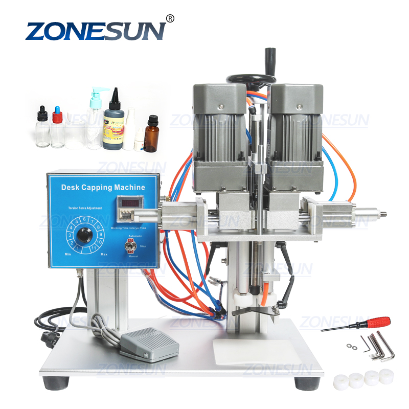ZONESUN E-juice E-liquid Desktop Trigge Cap Capper Twist Sealing Plastic Glass Dropper Spout Pouch Bottle Capping Machine