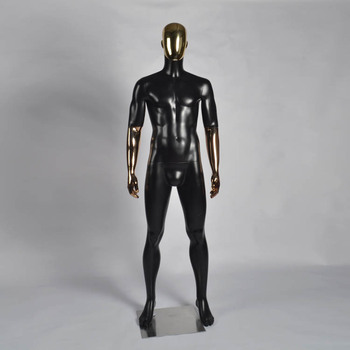 black fiberglass male mannequin with metal mask