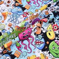 Organic cotton lycra knit cartoon fabric painting designs for children clothing