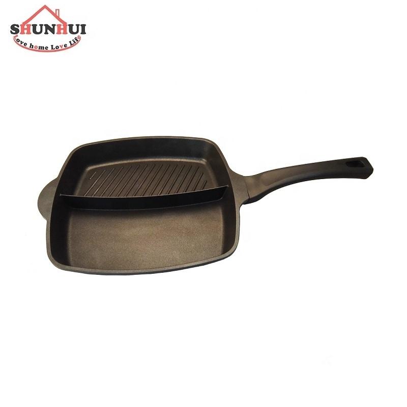 2 en 1 Petit-Déjeuner Antiadhésif Multi Section Divisée Poêle à Griller En Fonte D'aluminium 28cm Divisé Poêle