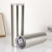 Wholesale 20oz custom double wall insulated vacuum skinny tumbler water bottles stainless steel with chug straw lid
