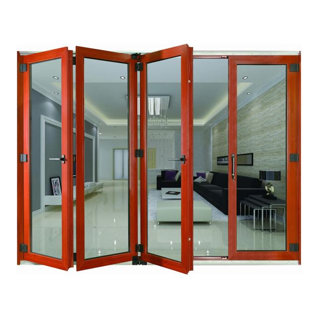 แก้วอลูมิเนียมเลื่อนประตูพับราคาบานพับสำหรับร้านอาหารห้องน้ำภายนอก frameless กลางแจ้งพับประตู