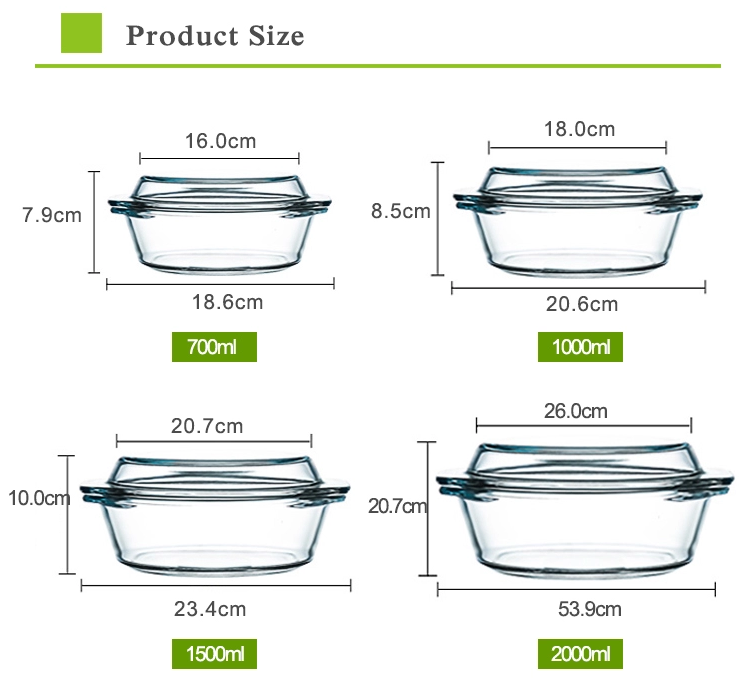 Heat resistant high borosilicate glass casserole glass cookeare with handle