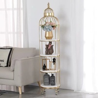 Small light portable simple birdcage metal Iron material bookcase display shelf