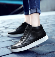Cow Leather High Cut White Sneaker Sports Shoes For Women
