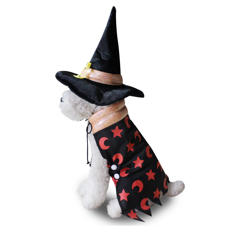 Animal de compagnie Halloween Vêtements Chien Cosplay Sorcier Vêtements Halloween Chapeau Manteau Ensemble