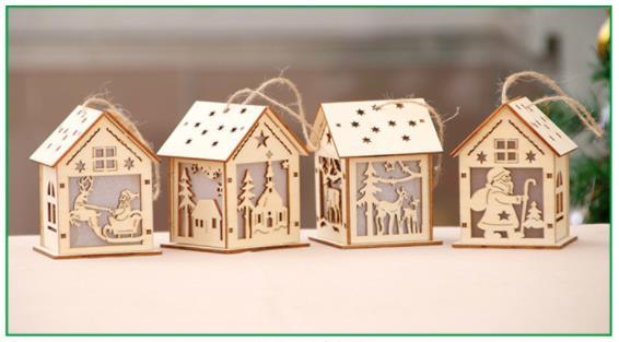 L ขนาดคริสต์มาส DIY อุปกรณ์ตกแต่ง LED คริสต์มาสไม้สำหรับคริสต์มาสต้นไม้