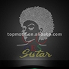 Clothing decoration women sorority rhinestone oes afro girl design