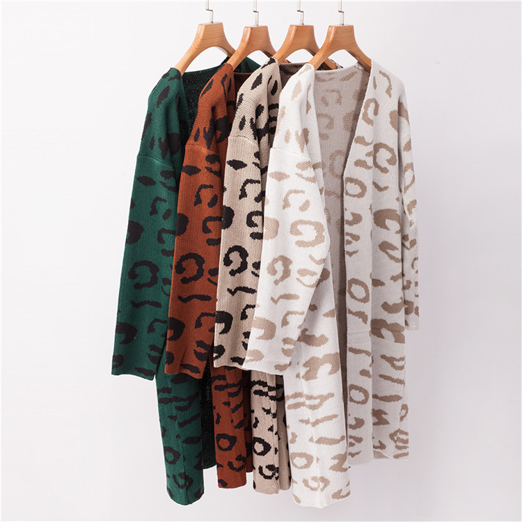 Casual Wholesale Ladies Jacket Coats Knit Leopard Loose <strong>cardigan</strong> Sweater for Women <strong>Cardigan</strong>