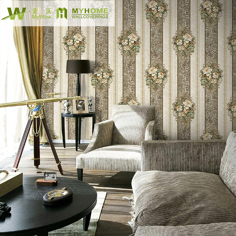 DIO  1.06*15.6m  elegant flower  for living room 3D wallpaper wholesale