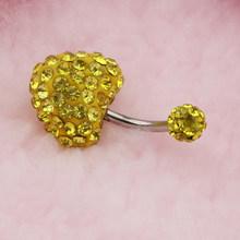 Стразы в форме сердца, штанга для пупка, пупка, кольцо на пуговицах, пирсинг, 14G(Китай)