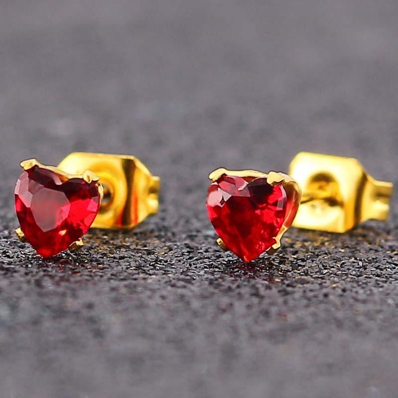 316L rubí Esmeralda zafiro talla pendiente de piedras preciosas de joyería de china al por mayor de joyería nupcial pendiente