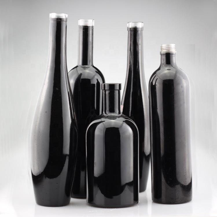 Kustom desain yang unik botol kaca botol kaca minyak zaitun hitam