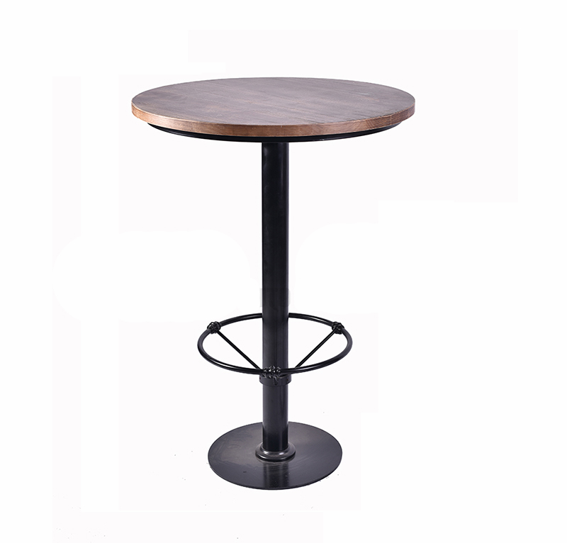 metal patio furniture adjustable cafe dining wood round bar table