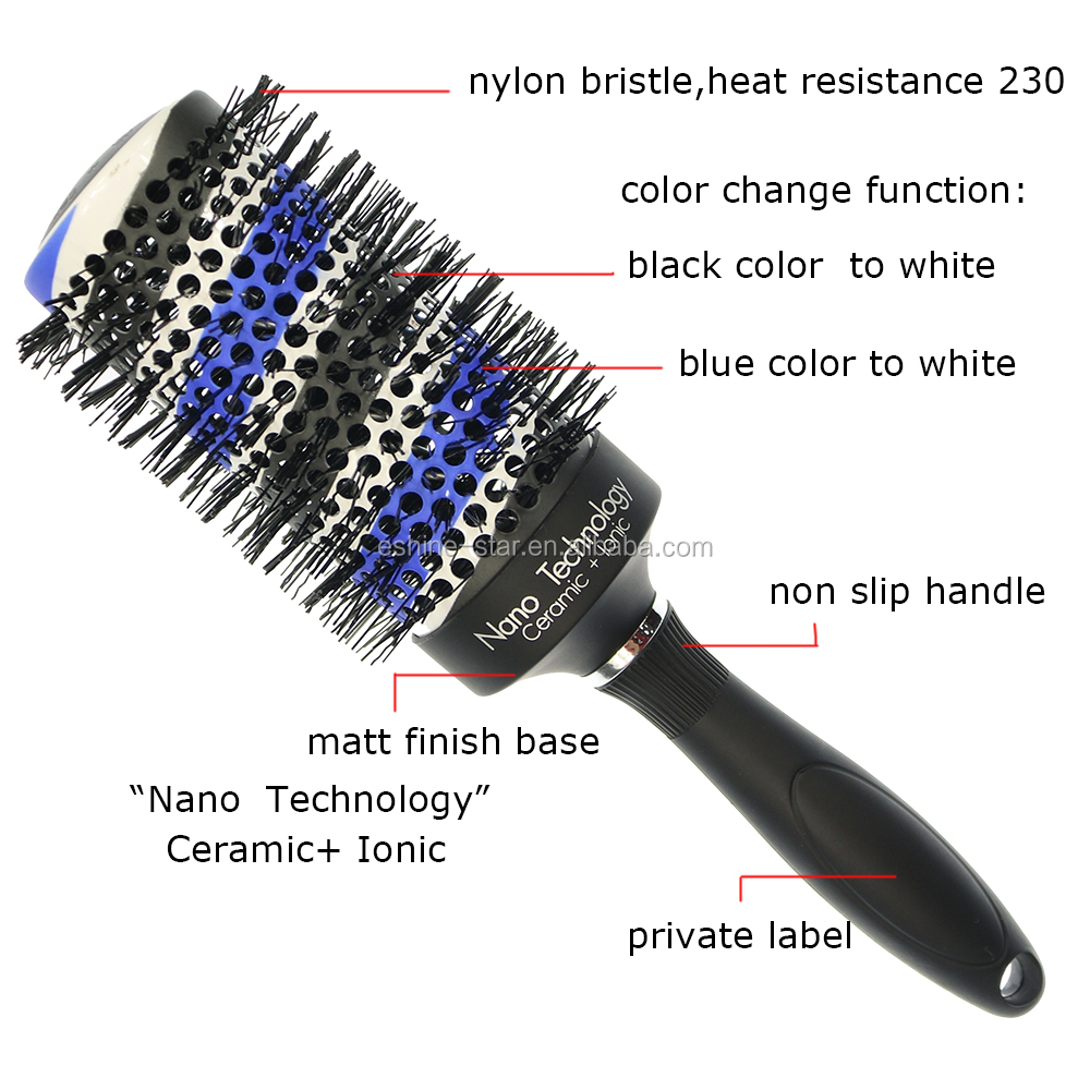 Private label plastic long handle nylon pins double line color change aluminum barrel ceramic ionic hair brushes