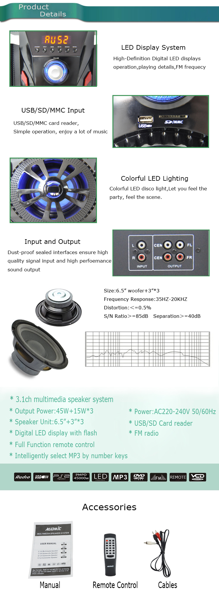 Ready Goods Stock Speakers  Stereo Sounds Audio Home Theater 3.1 Speakers for Computer