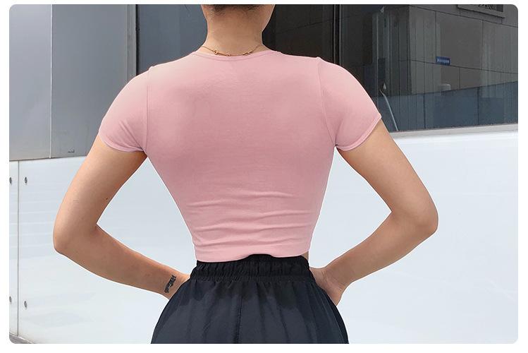 11 Colors Wholesale New Women Sliming Sports Crop Top Running Short Sleeve T Shirt 12