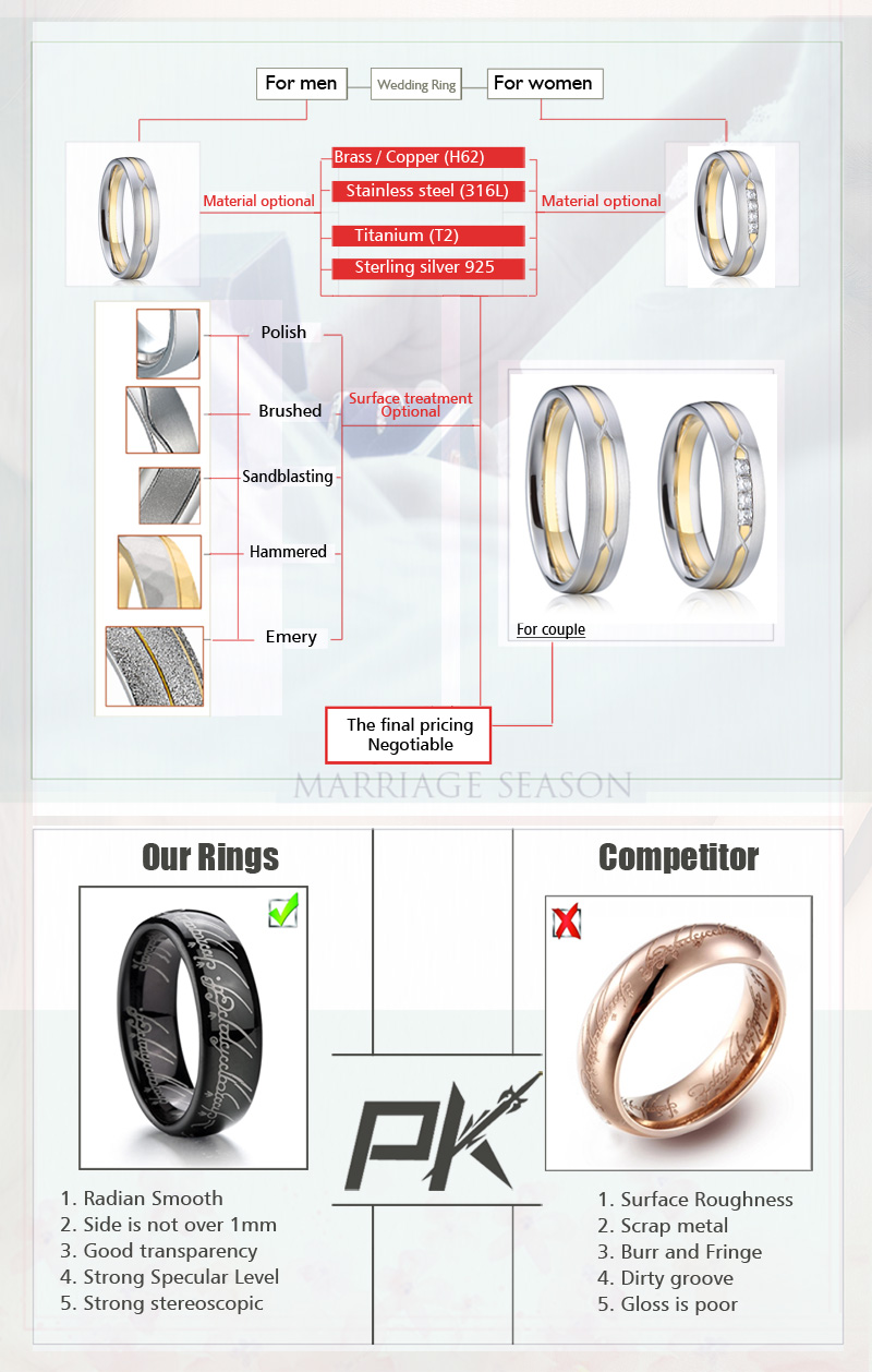 Custom names engraved golden wedding rings