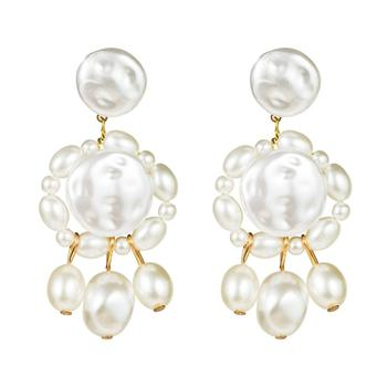2020 New Arrival Fashion Multi Layer White Pearl Drop Earrings Imitation Pearl Round Circle Statement Earrings For Women