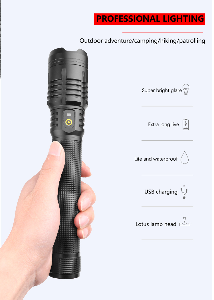 2000 Lumens 18650 26650 Aluminium Body XHP90 LED 3 Modes Dimming Zoomable Rechargeable Powerful Bright Flashlight