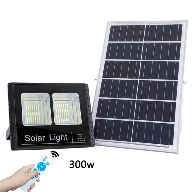 Outdoor 300w Solar panel led light with remote control Dual-Head Solar flood light