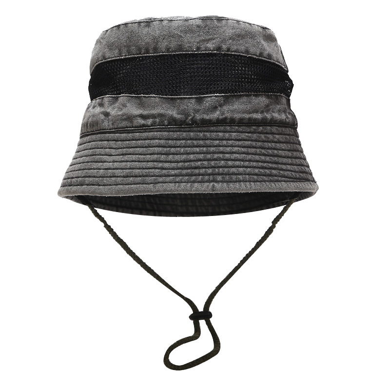 High quality unisex fisherman hat with string stone washed blank bucket hat plain cotton bucket hat with mesh