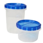 plastic pp reusable clear round cookie container tub with lid food storage box sets