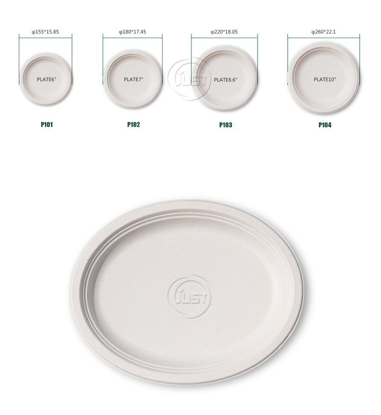 "Custom printed eco friendly Plate6""/Plate7""/Plate8.6''/Plate10"" bagasse pulp tableware"