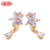 fashion jewelry 2019 Unique ladies Pearl butterfly hoop zirconia earrings for gilr