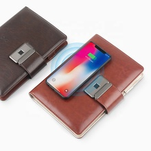 Custom Fingerprint Lock Diary Wireless Charging Notebook with Power Bank