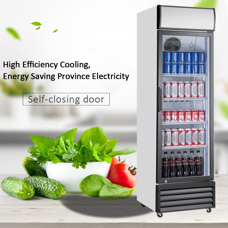Commercial Upright Clear Transparent Glass Door Refrigerator