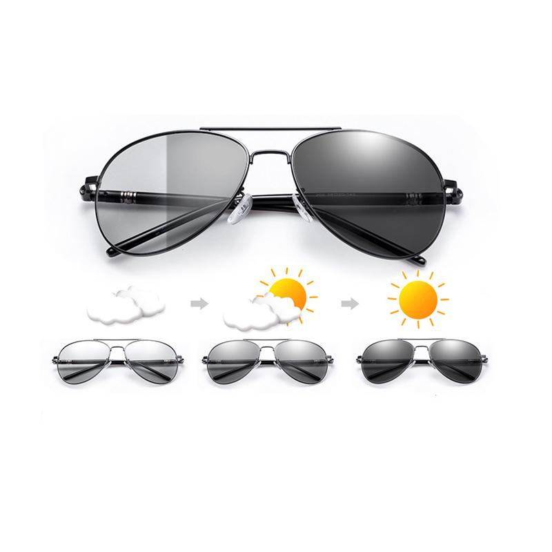 Polarized photochromic New fashion army pilot men chameleon sunglasses glass UV400  lenses men photochromic sunglasses