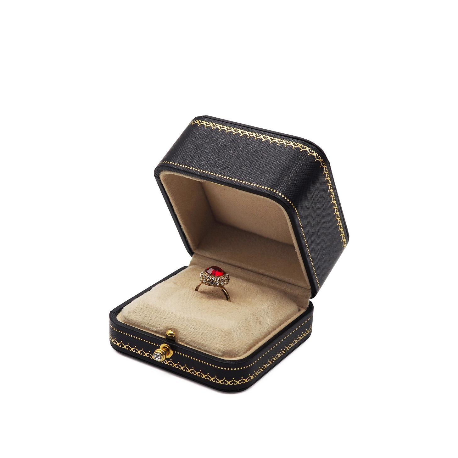 Jewelry packing round cornered leatherette paper boxes with diamond button case jewellery necklace ring box